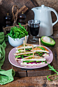 Beetroot, avocado and cream cheese sandwich
