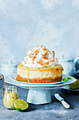Lime curd cheesecake with meringue