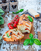 White bread with dried tomatoes and parmesan