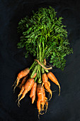 A bunch of crooked carrots with greenery