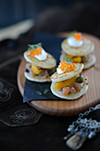 Blinis with fish and caviar