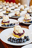 Southern style shortcake with blueberry compote, vanilla ice cream, fresh blueberries and edible flowers with honey drizzle