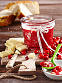 Cornelian cherry jam with white chocolate