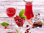 Cornelian cherry liqueur with cinnamon and cloves