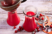 Cornelian cherry juice in bottles
