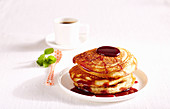 Thick pancakes with elderberry syrup