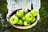 Grüne Äpfel in einer Holzschale