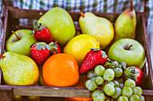 Frische Früchte in einer Holzkiste