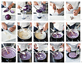 Purple risotto with squid and limes being made