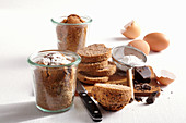 Mini chocolate cakes baked in jars with ingredients