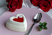 Cream cake with heart shape for Valentine's Day
