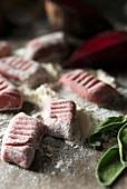 Homemade beetroot gnocchi