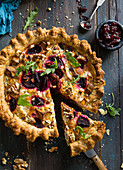 Beetroot, sweet potato and goat's cheese quiche