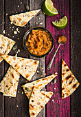 Caramelised onion fava bean dip with flat bread
