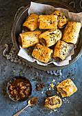 Homemde Vegetarian Meatfree sausage rolls with caramelised chutney