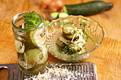 Gherkins with grated horseradish, mustard, cloves and dill