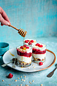 Yoghurt, granola and raspberry pots with honey