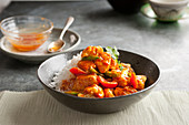 Chicken Curry with bell pepper and rice