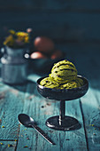 Artisan Pistachio Gelato Ice Cream served in a rustic metal cup