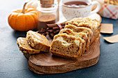 Pumpkin loaf cake or bread with winter spices cream cheese