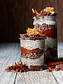 Chocolate chia pudding in a jar with honeycomb