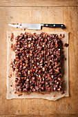 Rocky Road cake (chocolate and marshmallow cake, USA) on baking paper