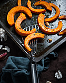 Oven-baked Hokkaido pumpkin wedges