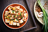 Mapo tofu with minced meat and chilli (Szechuan, China)
