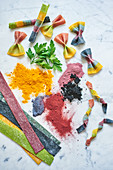 Colorful homemade pasta