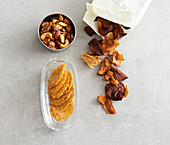 Low carb snacks: vegetable crisps, snack nuts and cheese crackers