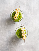 Cold asparagus soup with wild garlic and prawn skewers (low carb)