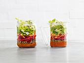 Linsensalat mit Avocado im Glas (Low Carb)