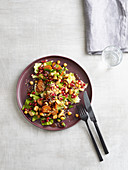 Oriental carrot and chickpea salad with chicken