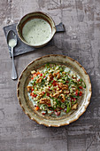 Quinoa salad with walnuts and a yoghurt dressing