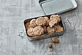 Oat and banana cookies with quark and peanuts