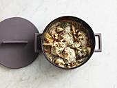Summer coq au vin with kohlrabi and chanterelle mushrooms