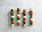 Vegetable and mozzarella skewers with olives (low carb)