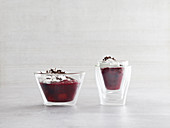 Red berry jelly with stracciatella quark (low carb)