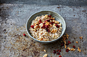 Winter buckwheat porridge with apples, cinnamon and cranberries