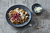 One pot pasta with radicchio, walnuts and parmesan cheese