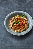 Wholemeal spelt pasta with vegan lentil bolognese