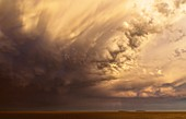 Storm clouds and mammatus clouds