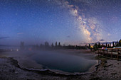 Milky Way over Yellowstone geothermal area
