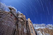 Star trails over Mount Tai