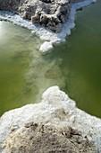 Salt deposits round Dead Sea sink hole, Israel