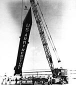 Redstone rocket launch preparations, 1953