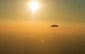 Soyuz TMA-20M capsule landing by parachute, 2016