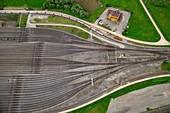 Converging train tracks, aerial photograph