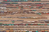 Railway tankers, aerial photograph