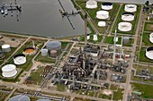 Oil refinery, aerial photograph